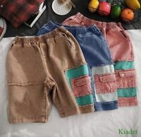 Mens Color Stitching Summer Shorts Denim Casual Plus Size Beach Loose Fit Pants