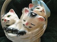 American Bisque Pottery 3 Kittens in Basket Handled Planter Vase blue bow