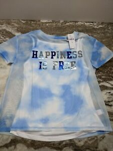 NWT Justice Girls Blue Tie Dye Top and Tank Top, Happiness Is Free Size 12