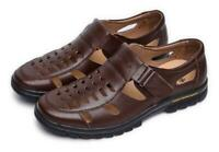 Mens fisherman hollow out leather casual dress shoes summer close toe sandal