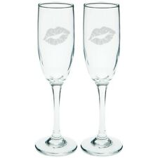 Valentine's Day - Lipstick Kiss Etched Champagne Glass Set