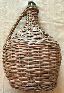 """Vintage Wicker Wrapped Glass Wine Bottle or Jug 13 3/4"""" High From Sarajevo"""