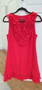 TED BAKER Red Ruffle Sleeveless Pleat Shift Dress Party Occasion Summer 3 UK 12