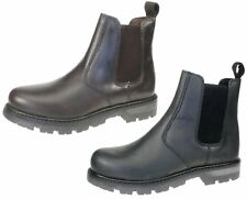 Oaktrak Kids Black or Brown Leather Rocksley pull on chelsea dealer boots UK 1-6