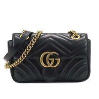 GG Marmont Matelasse Flap - Small Black Leather