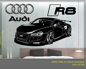R8 GT Racing Sports Car Front View With Logo Removable Wall Vinyl Decal Sticker