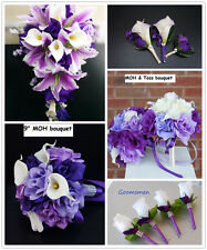 16pc Wedding Package - Purple Lavender and White Artificial Flowers