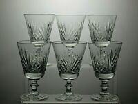 "BEAUTIFUL DESIGN CUT GLASS CRYSTAL 7 OZ WINE GLASSES SET OF 6 - 5"" TALL"