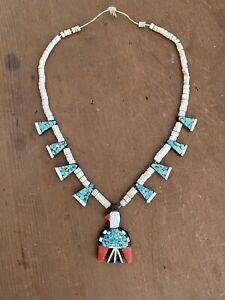 Santo Domingo Pueblo Thunderbird Battery Depression Turquoise Coral Necklace
