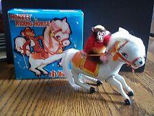 """Vintage MONKEY RIDING HORSE Tin Wind Up Clockwork China 5.5"""" ORIGINAL BOX /KEY"""