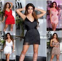 Koucla Damen Kleid Abendkleid Minikleid Party mit Fransen