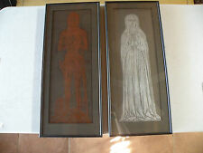 original 1427 England Grave rubbing of a knight and his wife lot of 2, framed