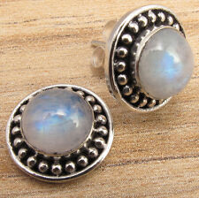 925 Silver Plated Classic RAINBOW MOONSTONE Post Earrings LIGHTWEIGHT
