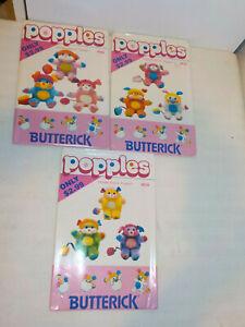 3 VINTAGE POPPLES STUFFED TOY PATTERNS 1986 UNCUT