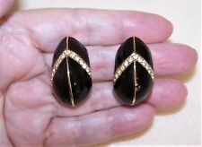 Fabulous Black Enamel Rhinestone & Goldtone Metal Clip Earrings by CINER