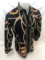 Mens PREMIERE Long Sleeve Button Down Dress Shirt BLACK GOLD LEAF CHAIN 513 NWT
