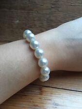 Pearl Bead Bracelet/Vintage Look/Imitation/Retro/Cream/Classic/Stretchy
