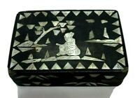 Old Antique Black Brown Wooden Figural Trinket Box Inlaid Mother of Pearl Japan