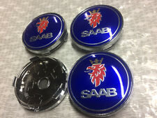 4x Saab Alloy Wheel Hub Centre Cap Set Center Caps Blue 60mm