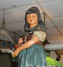 German wine girl Statue cane stand Advertising Display Chalkware  3' tall
