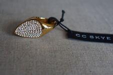 NEW Designer CC SKYE The Slice Ring Pave Swarovski Crystals & Gold SZ 7 $172