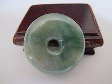 100% Natural type A green jadeite jade donut (Pi) pendant J00146