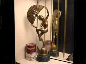 Art Deco Modernistic Nude Lady Fan Dancer Metal Statue on Marble - S.F.Estate