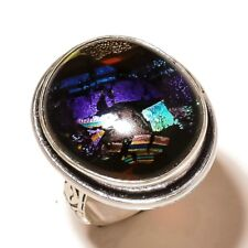 Stylish Dichroic Glass Oval Gemstone silver plated Handmade Statement Ring US-8