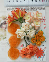TANGELLO, ORANGE & IVORY Mix 24 Flowers 6Styles PAPER & SILK Flowers 15-30mm VC3