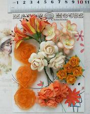 TANGELLO, ORANGE & IVORY Mix 24 Flowers 6Styles PAPER & SILK Flowers 15-30mm VC3