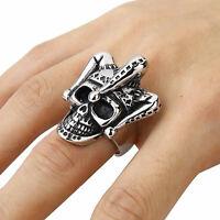 1pcs Gothic Joker Clown Skull Biker Ring Stainless Steel Punk Men Finger Jewelry
