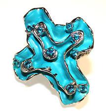 Stretch Ring Cross Aqua Blue Crystals Art Deco Unique