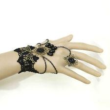 Bracelet femme réglable Dentelle Noire bague goutte gothique élegant aristocrate