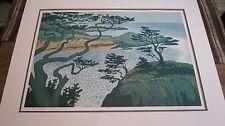 "JIM PESL WOODCUT Amazing Print ""Point Lobos II"", signed unframed w/COA-Very Nice"