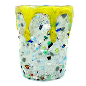 Murano Glass Drinking Art Glass Tumbler Silver Yellow Hand Made Millefiori