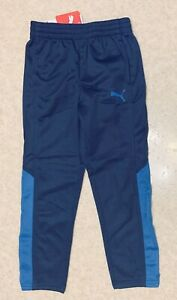 Puma Boys Blue Polyester Athletic Pants Elastic Waist Pockets $36 on Tag