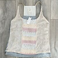 Anthropologie Tiny $78 Sz XS gray Sleeveless Sequence Casual Tank Top NWT
