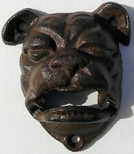 Lot of 5 English Bulldog Cast Iron Wall Mount Rustic Bottle Openers Bar Man Cave