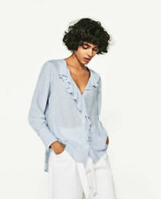 NWT $36  ZARA Blue Striped Ruffle Shirt    Size: S