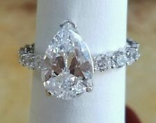 Beautiful 2ct Pear Shape Diamond  Engagement Ring 14k White Gold Over
