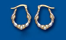 Hoop Earrings Gold Creole Hoops Two Colour Yellow and White gold