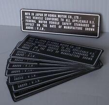 Honda CT70 & Z50 VIN# Head-Tube Identification Tag/Plate/Emblem (ENGRAVED)