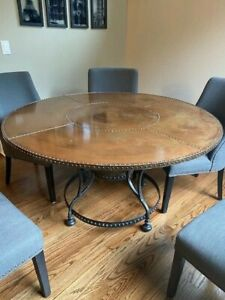 """56"""" round copper kitchen or dining table with rivets and gold accents"""