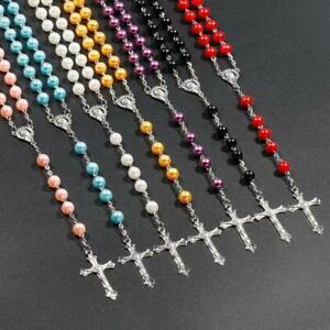 Rosary Prayer Beads Rosaries Christian Cross Catholic Religious 7 Colour Options