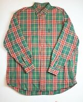 Abercrombie & Fitch Red Green Plaid Button Down The Big Shirt Mens XL