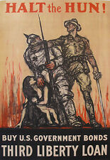 1918 AMERICAN WWI POSTER, HALT THE HUN by HENRY PATRICK RALEIGH