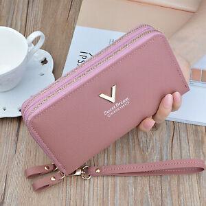 Women 2 Zip Purse Ladies Leather Wallet Long Card Phone Holder Clutch Handbag