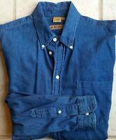 Ruff * Hewn Ruff Hewn Denim Shirt Large Indigo Blue 100% Cotton USA Made