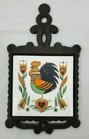 VINTAGE Cast Iron Trivet with Ceramic Tile Rooster/Flowers/Heart Design Japan