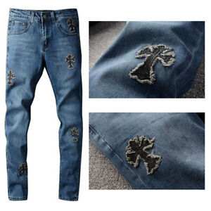 New Italy Pop Style Men's Cross Sequin Fringed Pants Skinny Blue Jeans CH721C